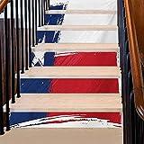 Calcomanías para escalera, diseño de bandera grunge con pinceles, paises independientes, removibles, decoración del hogar, añade interés y belleza a tu hogar, bermellón blanco y azul oscuro,...