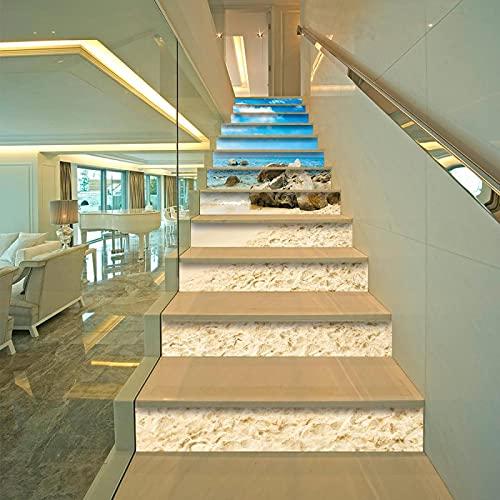 tzxdbh losetas vinilo para escaleras Cielo azul playa sombrilla 100CMx18CMx13pieces(39.3'w x 7'h x 13pieces) Ecológicas PVC Autoadhesivas Calcomanías para Escalera Impermeables Extraíbles para Decorac
