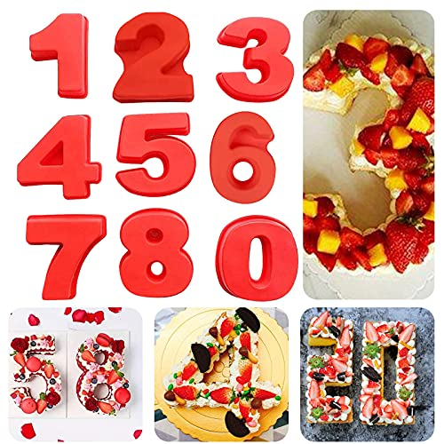 Mini3D Silicone Numbers Cake Molds For Birthday Wedding Anniversary, Baking Pans 0-8 DIY Baking Cake Mould Tools, Special Novel DIY Moulds Numbers Cake Molder