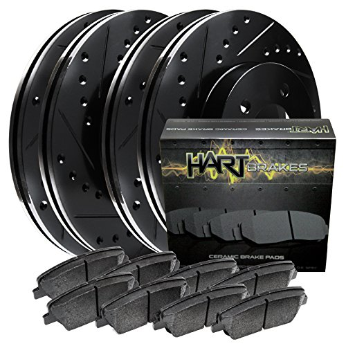 Fits Dodge Ram 1500 Front Rear Black Drill Slot Brake Rotors+Ceramic Brake Pads