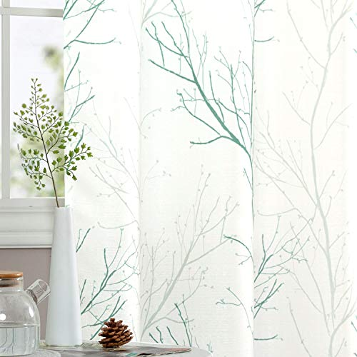 Curtains for Living Room Natural Design Floral Tree Branch Pattern Grommet Top Retro Window Drapes for Bedroom Causal Weave One Pair 55' W x 63' L Green