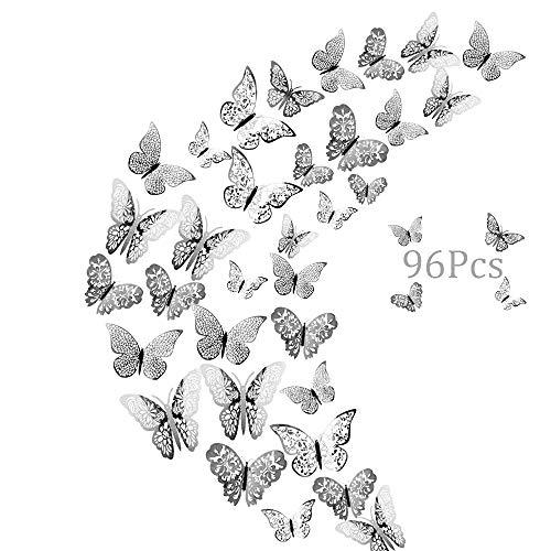 96er Deko Schmetterlinge Wanddeko Aufkleber Wandsticker Abziehbilder, Creatiees 3D Schmetterling Fliegen Dekorationen für Hauptdekorationen Raumdekoration Kinder Schlafzimmer Kindergarten Deko(Silber)