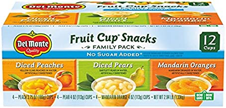 Del Monte No Sugar Added Fruit Cup Variety Pack (Peaches, Pears, Mandarin Oranges) – 4-Ounce (Pack of 12)