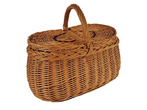 Einkaufskorb Picknickkorb mit Deckel aus Weide oval Braun 43x30x36 cm Picknikkorb Weidenkorb Autokorb Geflochten