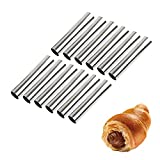 Screw Croissant Molds, VolksRose 12 PCS Non-stick Stainless Steel Waffle Cone Roll Pastry Cream Horn Forms Pancake Making Tool Cannoli Tubes DIY Spiral Cake for Traditional Dessert Bread Baking,5 INCH