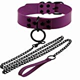 Punk O Shape Ring Circle Round Loop Collar Leather Necklaces Button Link Chain Haulage Cable Tow Rope for Women Girls Temperament Interest Jewelry-D Purple