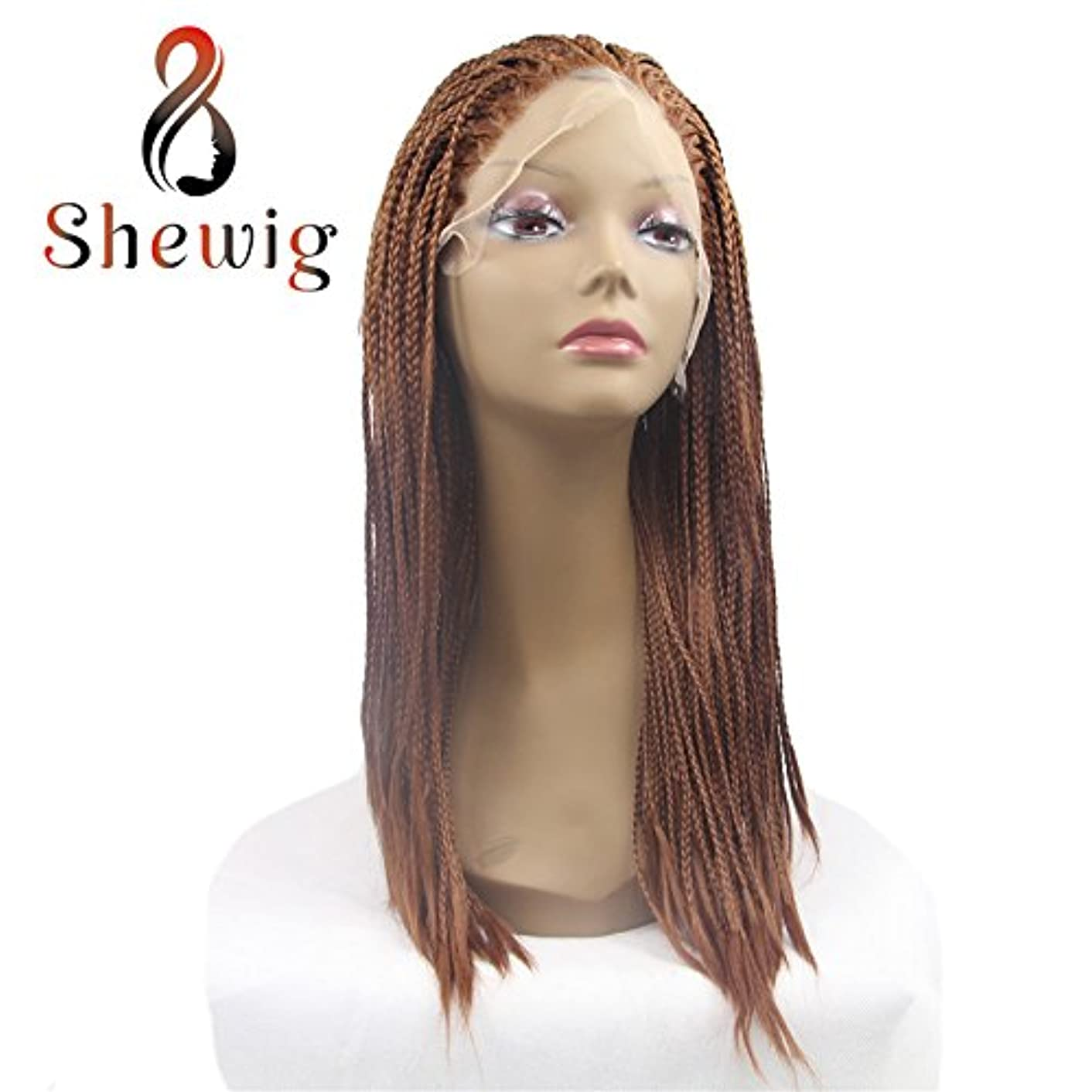 SheWig Braids Wig Chestnut Brown Box Braids Wig Synthetic Lace Front Wigs For Women