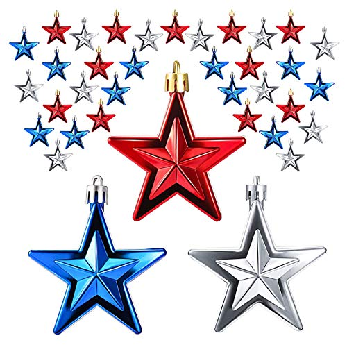 IJKLMNOP 36PCS Independence Day Star Ornament - 2.76Inch 4th of July Patriotic Hanging Ball Decoration American Flag Ornament for Independence Day, Christmas Tree, USA Themed Party Supplies
