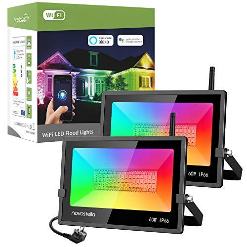 Novostella RGB Strahler 60W 2er Set, LED Strahler außen Kompatibel mit Alexa Google Home, RGBW Fluter, APP-Steuerung 16 Mio. Farben Gartenstrahler, RGB Beleuchtung für Weihnacht Halloween Party Deko