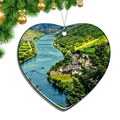 Hqiyaols Ornament Deutschland Mosel Weihnachten Zierschmuck Ornamente Keramik Blatt Souvenir Stadt Reise Geschenk Baum Tür Fenster Decke Deko