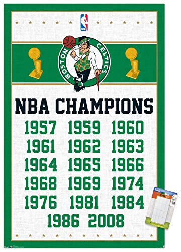 Trends International NBA Boston Celtics - Champions 13 Wall Poster, 22.375' x 34', Premium Poster & Mount Bundle
