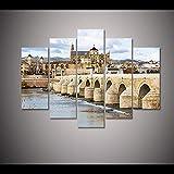 ZXYJJBCL Mezquita De Córdoba, España 5 Paneles De Pintura Artística Imágenes La Imagen para La Decoración Moderna del Hogar Pieza Estirada por Marco De Madera