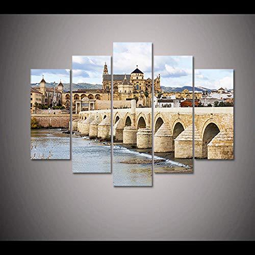 ZXYJJBCL Mezquita De Córdoba, España 5 Piezas Estiradas Y Enmarcadas Pinturas sobre Arte De Pared La Imagen para La Decoración Moderna del Hogar