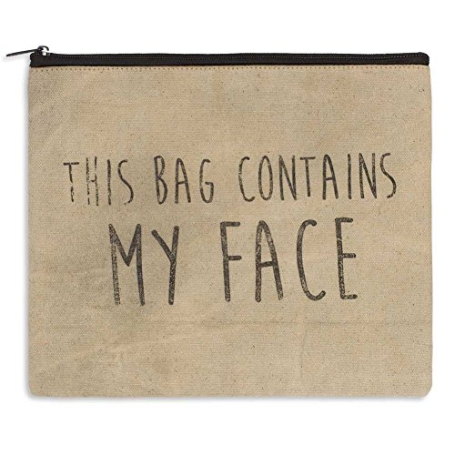 """Price comparison product image THIS BAG CONTAINS MY FACE - Sturdy Canvas Toiletry Pouch Make up case Cosmetic Travel Tote Bag 11"""" x 9"""""""