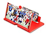 Saubhagya Global 3D Screen Magnifier HD Projector with Foldable Holder Compatible for All Smart Phone (Color : Red)