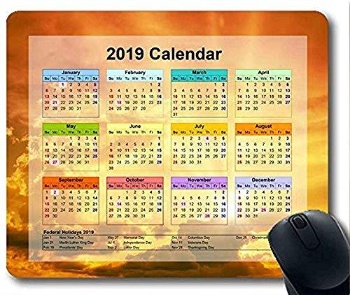 Kalender 2019 mit wichtigen Feiertags-Auflagen Mausunterlage 30 * 25 * 0.3cm sternenklares Himmel-Malerei-Spiel mit genähten Rändern für das Haus und das Büro rutschfest