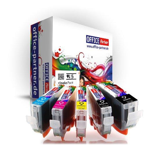 5er multiPack kompatible Druckerpatronen zu CANON PGI-5 / CLI-8 mit Chip OFFICE-Partner Fotopapier 10x15cm - passend für Canon PIXMA IP3300 / IP3500 / IP4200 / IP4300 / IP4500 / IP5200 / IP5200R / IP5300 / MP500 / MP510 / MP520 / MP520R / MP530 / MP600 / MP600R / MP800 / MP800R / MP810 / MP830 / MP970 / MX700 / MX 850
