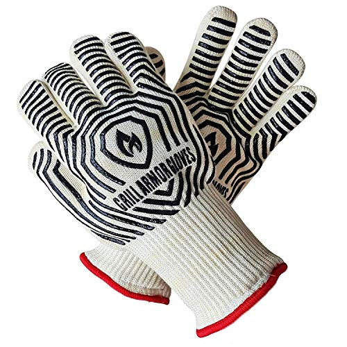 Grill Armor Oven Gloves – Extreme Heat Resistant EN407 Certified 932℉ – Cooking Mitts for BBQ, Grilling, Baking, Camping, Fire Pit, Cast Iron, Smoker, Pizza & More – Indoor & Outdoor – Long Cuff