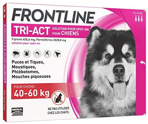 FRONTLINE TRI-ACT Chien - Anti-puces et anti-tiques pour chien - 40-60kg - 3 pipettes
