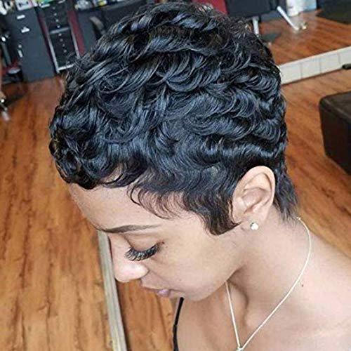RUISENNA Short Human Hair Wigs Curly Pixie Cut Wigs for Women Glueless Remy Brazilian hair Wig Short Black Curly Wigs