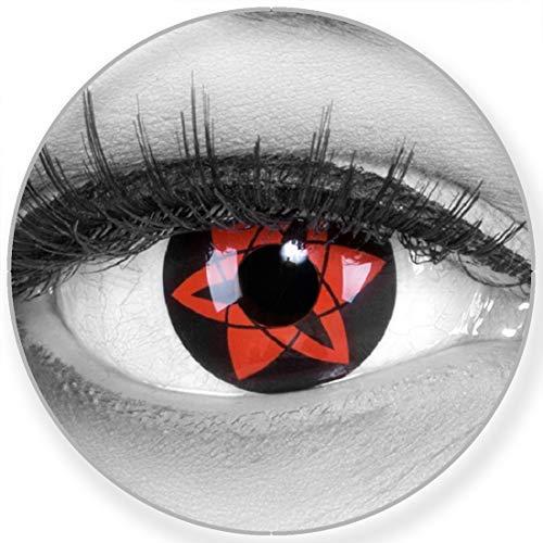 Funnylens Sharingan Kontaktlinsen Sasukes Mangekyu Anime Manga rot schwarze Kontaktlinsen weich ohne Stärke 2er Pack + gratis Behälter – 12 Monatslinsen - zu Halloween Karneval Fasching Fasnacht