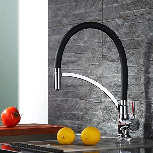 Homelody Wasserhahn Kueche Schwarz küchenarmatur 360° drehbar Silikon in Lebensmittelqualität Wasserhahn Küche Armatur Spüle Mischbatterie Einhebel Spültischarmatur