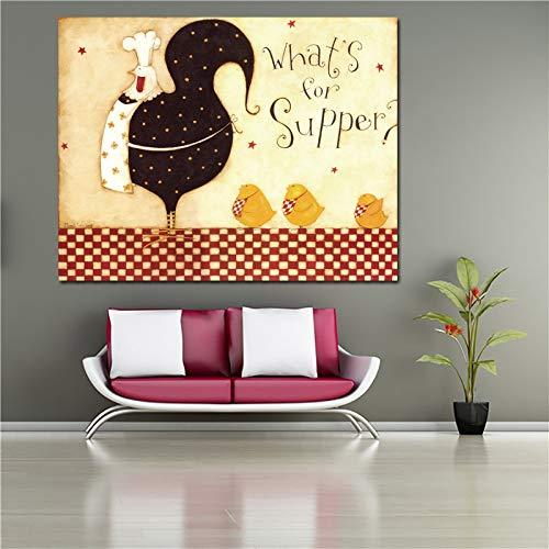 Frameloos Decoratief schilderij Poster en print Chef en soep Canvas schilderij voor keuken Restaurant Wall Art Home Decor <> 60x75cm