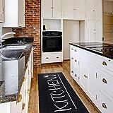mynes Home Teppich Küchenläufer Kurzflor Waschbar bei 30°C in der Waschmaschine Schwarz Kitchen Schrift| MY3040 | 80x200cm