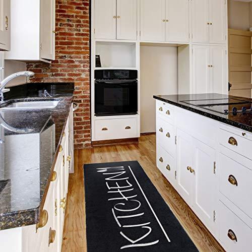 mynes Home Teppich Küchenläufer Kurzflor Waschbar bei 30°C in der Waschmaschine Schwarz Kitchen Schrift  MY3040   80x200cm
