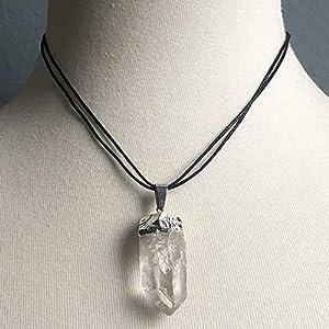 Raw Clear Quartz Crystal Point Gemstone Pendant Necklace