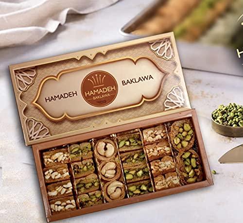 (250gr)Caja de regalo de lujo Baklava Turkish Baklawa Sampler Pistachio Surtido echa en las mejores fabricas
