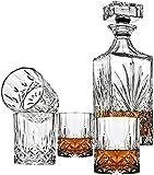 QJTZ Decantador de Whisky de 5 Piezas y Conjunto de Vidrio, Decantador de Cristal sin Plomo de 700 ml con 4pcs 310ml Gafas, Barras de Roca para Borbón 0816 (Color : A)
