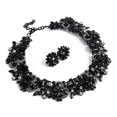 Black Statement Necklace and Earrings Set with Rhinestone for Women Costume Prom Party Big Chunky Jewelry Sets