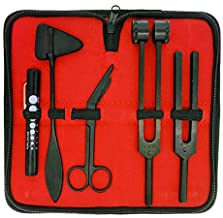 """Limited Edition - Full Tactical Black - Grudge Style Set of 5 pcs Reflex Percussion Taylor Hammer + Penlight + Tuning Fork C 128 C 512 + Bandage Scissors 5.5"""""""
