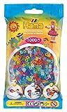 Hama Perlen 207-54 Bügelperlen Beutel mit ca. 1.000 bunten Midi Bastelperlen mit Durchmesser 5 mm im Glitter Mix, kreativer Bastelspaß für Groß und Klein
