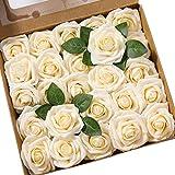 Ksnnrsng Flores Rosas Artificiales Espuma Rosa Falsa para Manualidades, Ramos de Novia, centros de Mesa, Despedidas de Soltera y Decoración del Hogar (25 Piezas, champán)