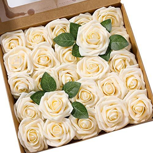Künstliche Rosen Blumen Schaumrosen Foamrosen Kunstblumen Rosenköpfe Gefälschte Kunstrose Rose DIY Hochzeit Blumensträuße Braut Zuhause Dekoration (25 Stück, Champagner)