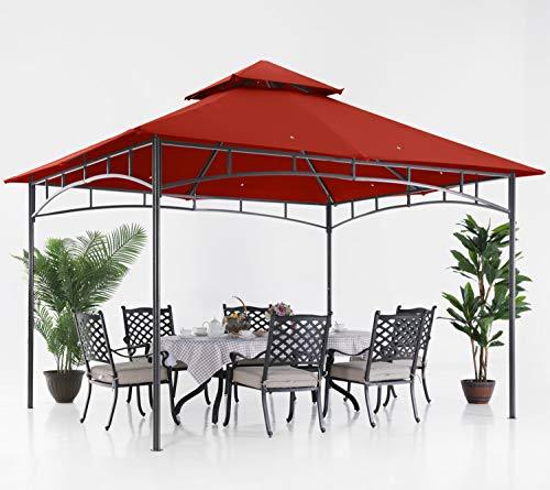 ABCCANOPY 10x12 Patio Gazebos for Patios Double Roof Soft Canopy Garden Backyard Gazebo for Shade and Rain, Rust Red