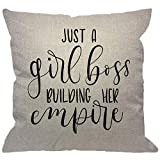 HGOD DESIGNS Quote Throw Pillow Cover,Just A Girl Boss Building Her Empire Inspirational Phrase Modern Feminism Quote Decorative Pillow Cases Cotton Linen Cushion Cover for Home Sofa Couch 18x18 inch