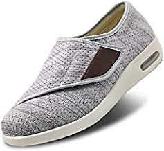 Womens Stylish Diabetic Shoes Extra Wide Widths Walking Edema Sneakers Adjustable Strap Easy On/Off with 3 Pairs Insoles Replacement for Support Swollen Feet Light Gray
