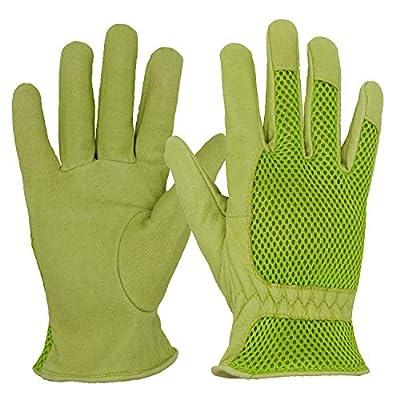 HANDLANDY Leather Gardening Gloves for Women, 3D Mesh Comfort Fit- Improves Dexterity and Breathability, Pigskin Scratch Resistance Garden Yard Working Gloves (Medium, Green)