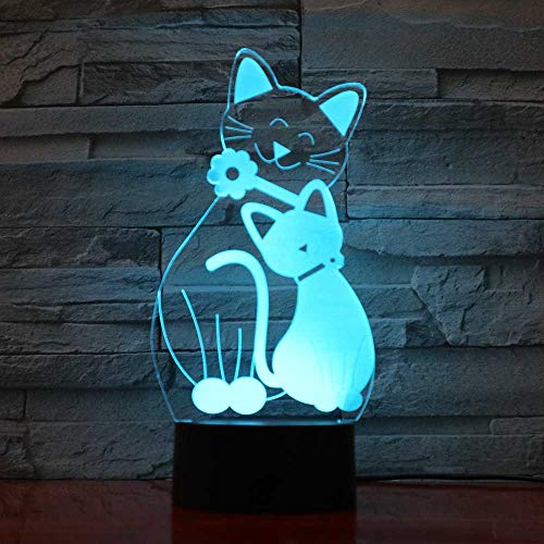 Creative 3D Cat Night Light 7 Colors Changing USB Power Touch Switch Decor Lamp Optical Illusion Lamp LED Table Desk Lamp Children Kids Christmas Brithday Gift