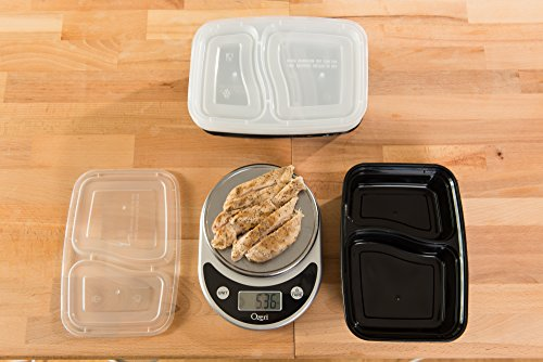 California Home Goods 2 Compartment Reusable Food Storage Containers with Lids, Microwave and Dishwasher Safe, Bento Lunch Box, Stackable, Set of 10