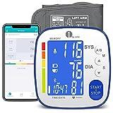 Misuratore di Pressione da Braccio Bluetooth con App e Frequenza Cardiaca, 1byone Sfigmomanometro Digitale con Bracciale 22-42cm, Esporta dati come Excel, 2 × 250 Memoria, Retroilluminazione LCD