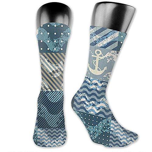 heefan Marine Theme Wellenmuster Persönlichkeit Mode Hochleistungs Herren Damen Kleid Socken