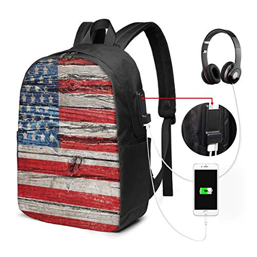 Backpack,Fourth of July Independence Day Painted Wooden Panel Wall Looking Image Freedom