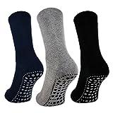 Sockenkauf24 8600 - 3 o 6 pares de calcetines para hombre y mujer, planta antideslizante con ABS, color negro, azul y gris 3 Paar - Schwarz/Blau/Grau 43/46