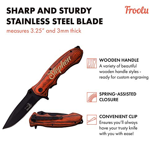 Custom Engraved Pocket Knife - Fishing, Camping, Hunting Knife - Personalized Gift - Perfect for Groomsmen, Birthdays, Anniversaries & More - Sturdy Wooden Handle And Sharp, Thick Blade - By Froolu