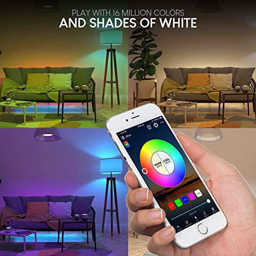 Flux Bluetooth Smart LED Light Bulb - Smartphone Controlled Dimmable Multicolored Color Changing...