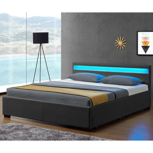 Juskys LED Polsterbett Lyon mit Bettkasten 180 x 200 cm – Bettgestell mit Lattenrost - Kunstleder – grau – Ehebett Schlafzimmer Möbel